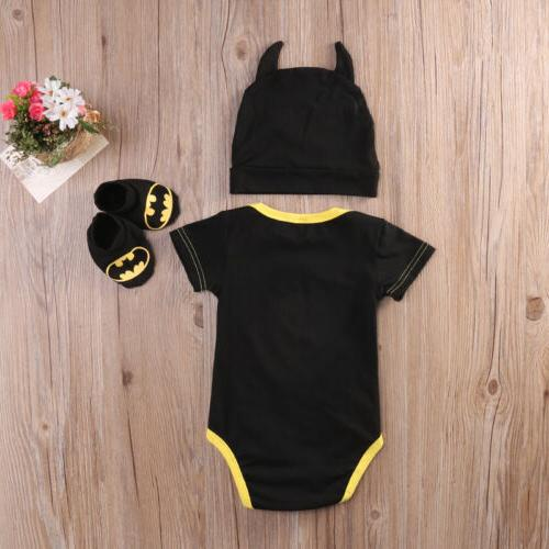 Newborn Toddler Baby Batman 3Pcs Outfit USA