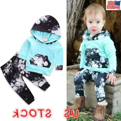 Newborn Toddler Baby Girl Winter Outfits Floral Clothes Hood