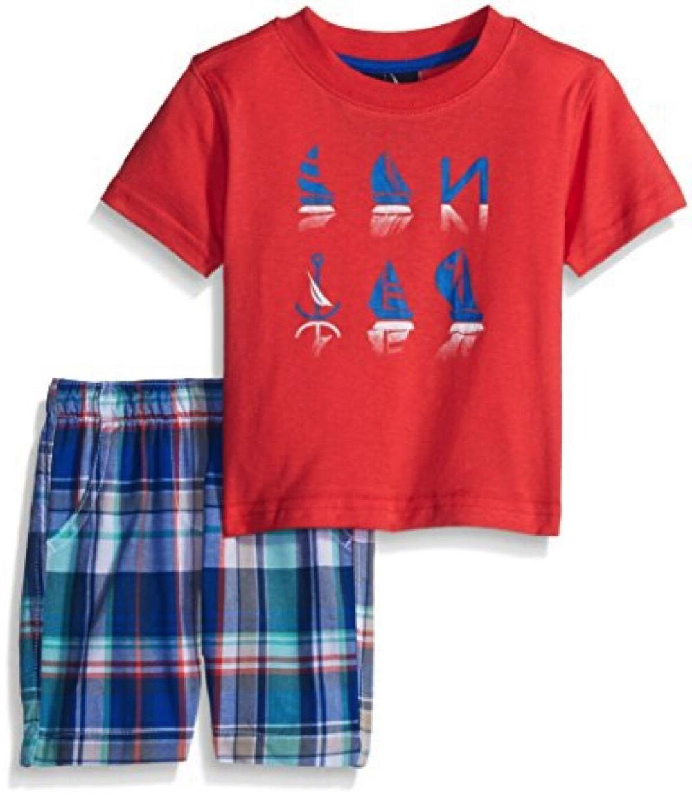 Nautica NWT 12M Baby Infant Boy 2pc Anchor Tee Short Set Out