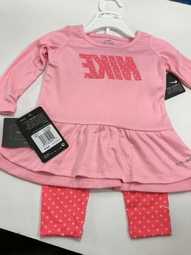 NWT Authentic Baby Girl 2 Piece Pink Nike Outfit Size 12 Mon