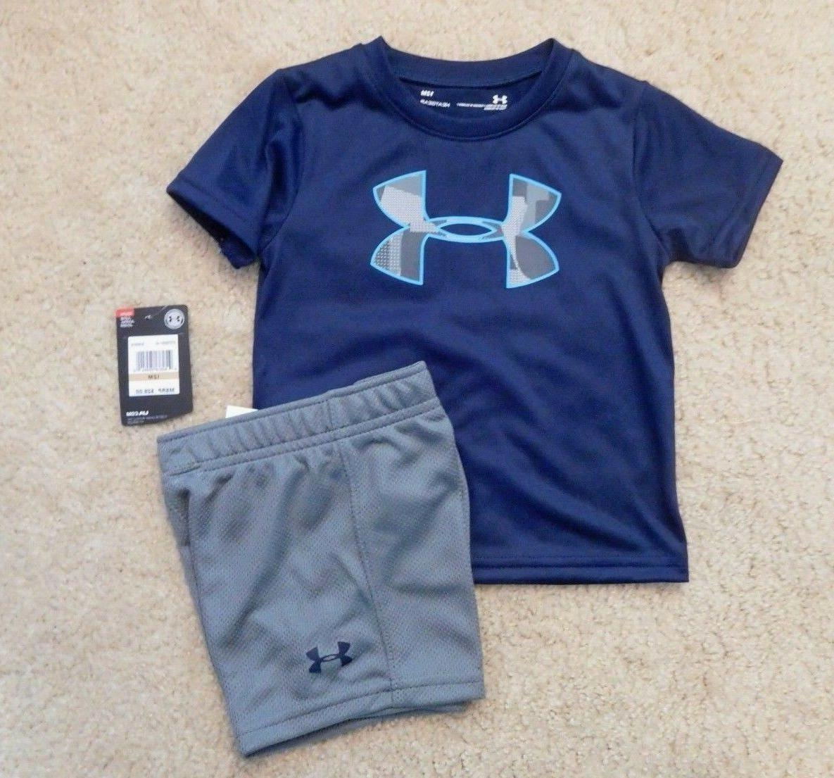 NWT Boys 2pc Under Armour Blue Gray Logo Shirt Shorts Outfit