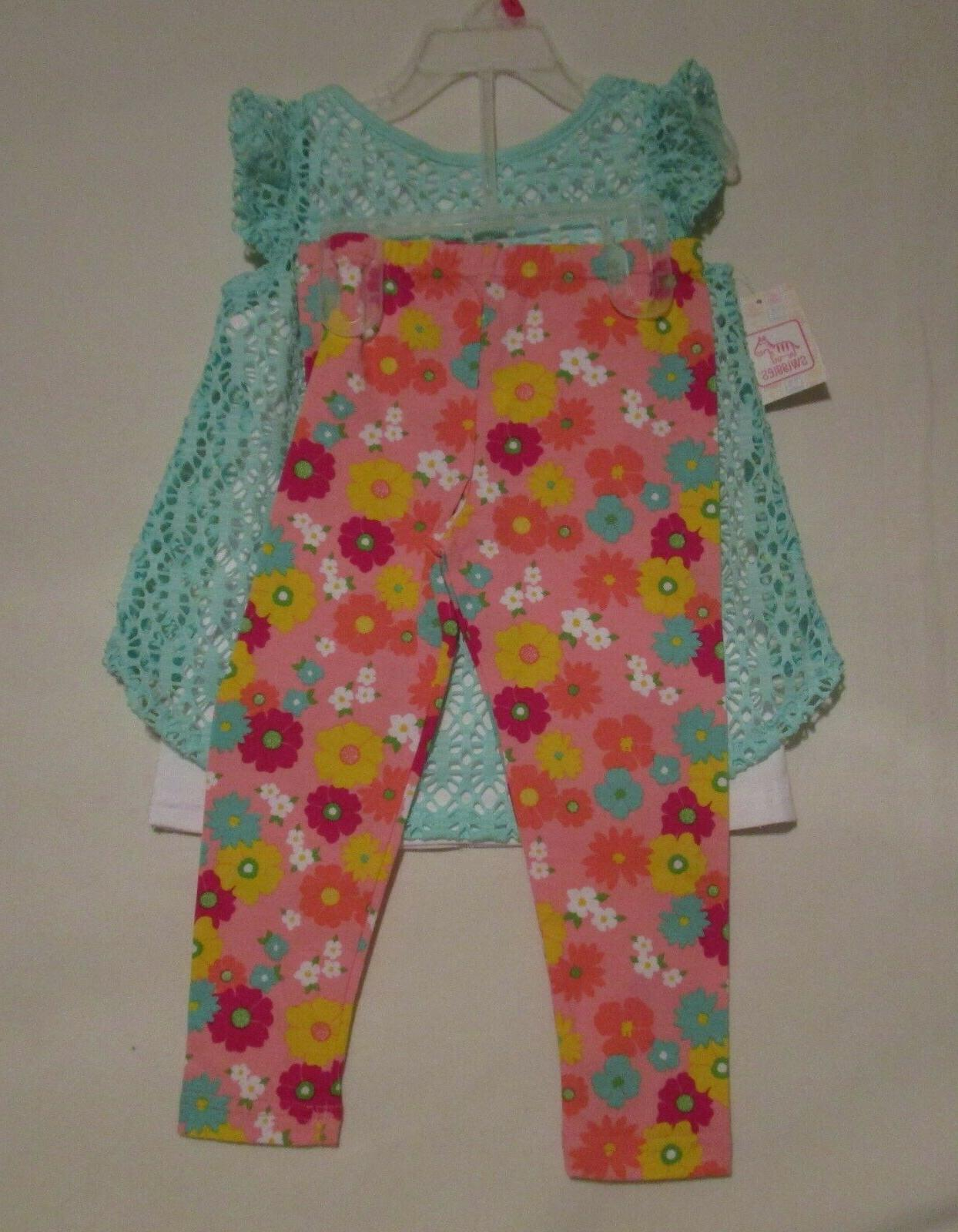 NWT Cap Sleeves, Lace over Top Floral Knit Pants 12 mo