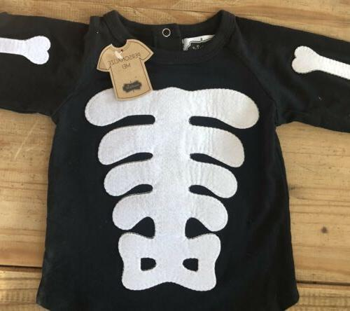 NWT Mud Halloween Baby Skeleton One-Piece Sleeve T-shirt 12-18 months