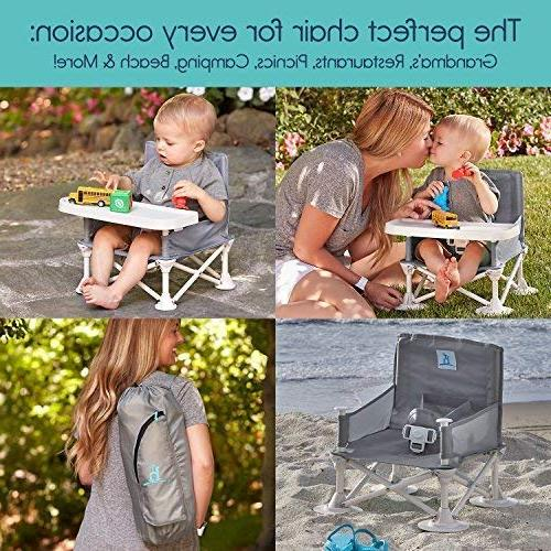 hiccapop Omniboost Travel Seat Tray for Baby | Folding Portable High Eating, | Straps to Kitchen Chairs Go-Anywhere