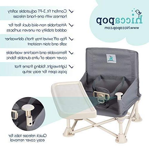 hiccapop Omniboost Seat Tray Baby | Portable High Chair for Camping, Beach, Lawn, | Tip-Free Go-Anywhere High Chair