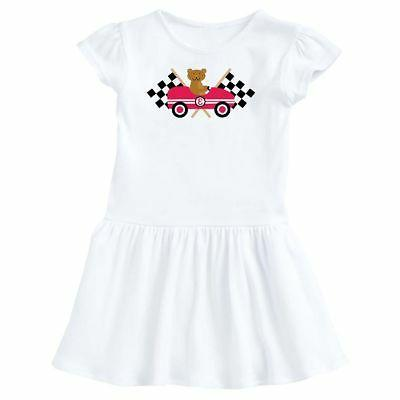 race car racing bear animal infant dress
