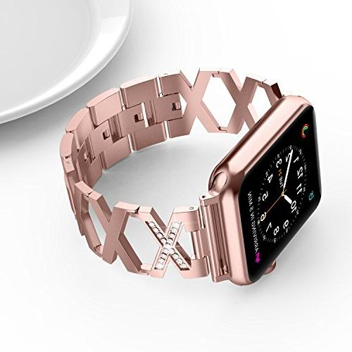 Wearlizer with Apple 42mm Bling Rhinestone Dressy Beauty Replacement Stainless Steel Fashion Series 4 1 Edition