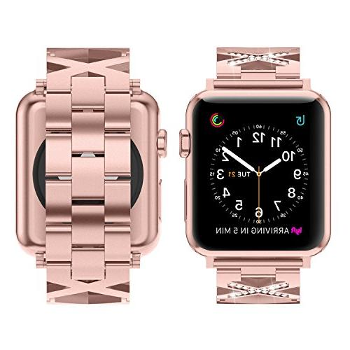 Wearlizer Rose Gold with 42mm 44mm iWatch Womens Bling X-Type Wristband Dressy Strap Stainless Steel Fashion Bracelet Series 4