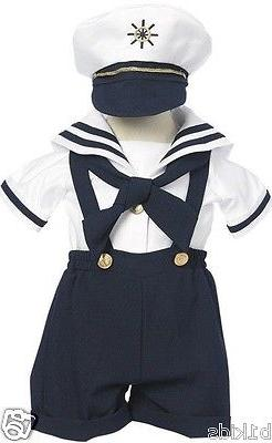Sailor Short Set Boys Navy White Nautical Outfit Set Infant