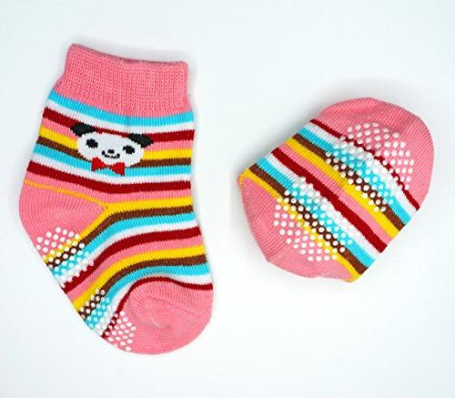 Liwely 6 Pairs Girls Socks, Skid for 3 - 12 Months Cat