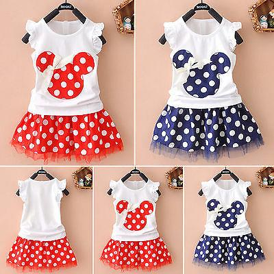 Summer Disney Minnie Mouse Toddler Baby Girl Party Dress Sun