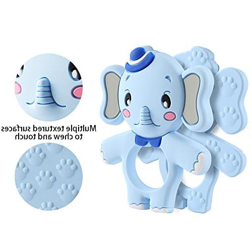 Baby Elephant Chewing Set BPA-Free, Girl Boy Newborn 3/6 12 Months 1 Old Shower