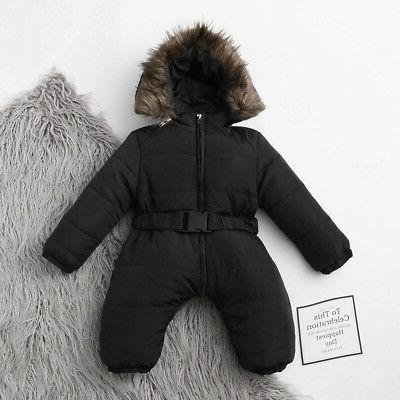 Toddler Baby Winter Romper Hooded Jumpsuit Thick