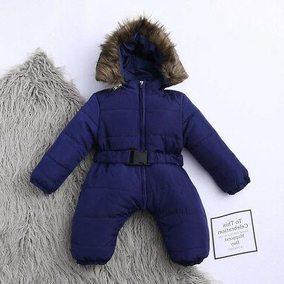 Toddler Baby Girls Winter Romper Jumpsuit Thick Outfit AE