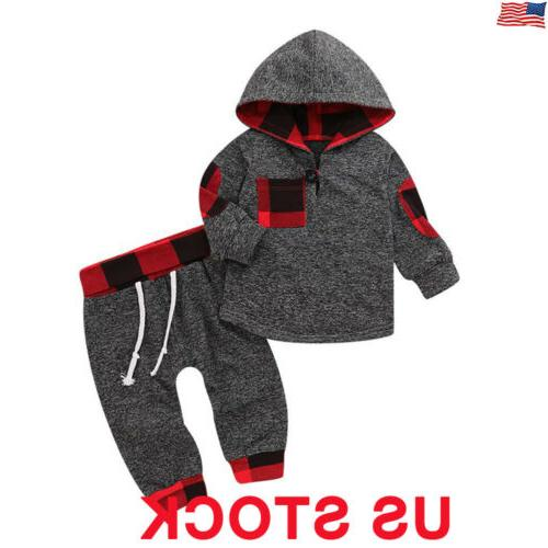 Toddler Baby Boys Girls Outfits Clothes Hoodie T-shirt Tops+