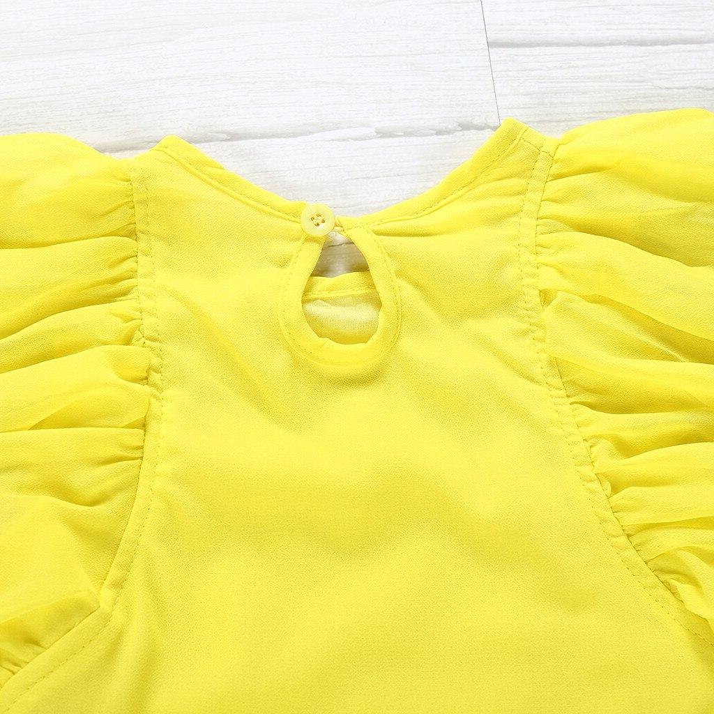 Toddler Baby Sets Sleeveless Ruffles Yellow Tops+Floral Print to Years Suit