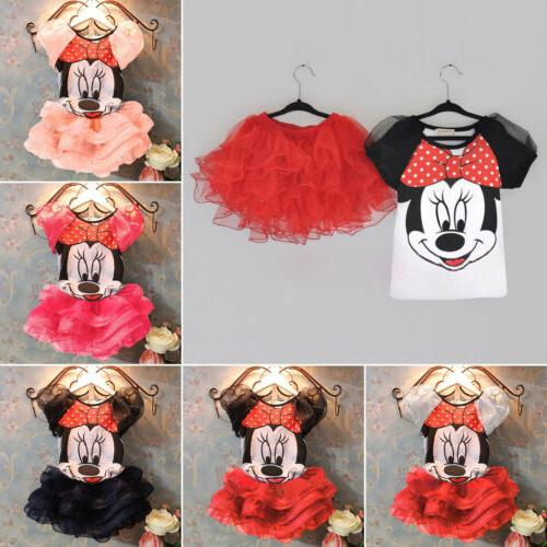 Toddler Kid Girl Child Minnie Mouse Princess Summer Top+Tutu