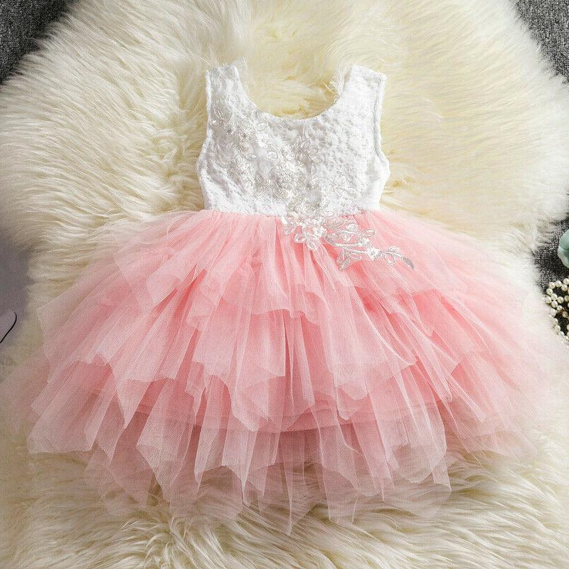 Toddler Kids Sleeveless Dress Party Lace