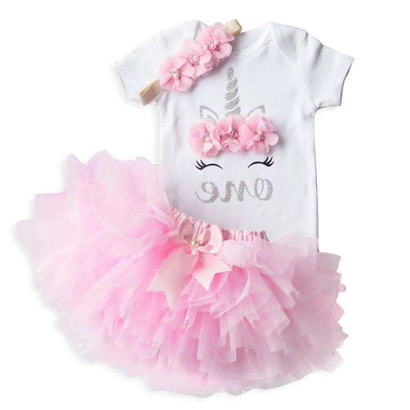 Unicorn Party <font><b>Dresses</b></font> For 1 Year Baby Birthday Outfits Clothes Cake Christening