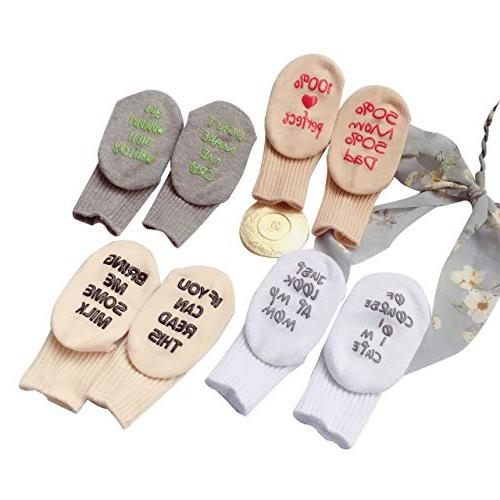 Unique Baby Socks Set Baby Gift Pairs Unisex Quote Cute Socks 0-12 Months