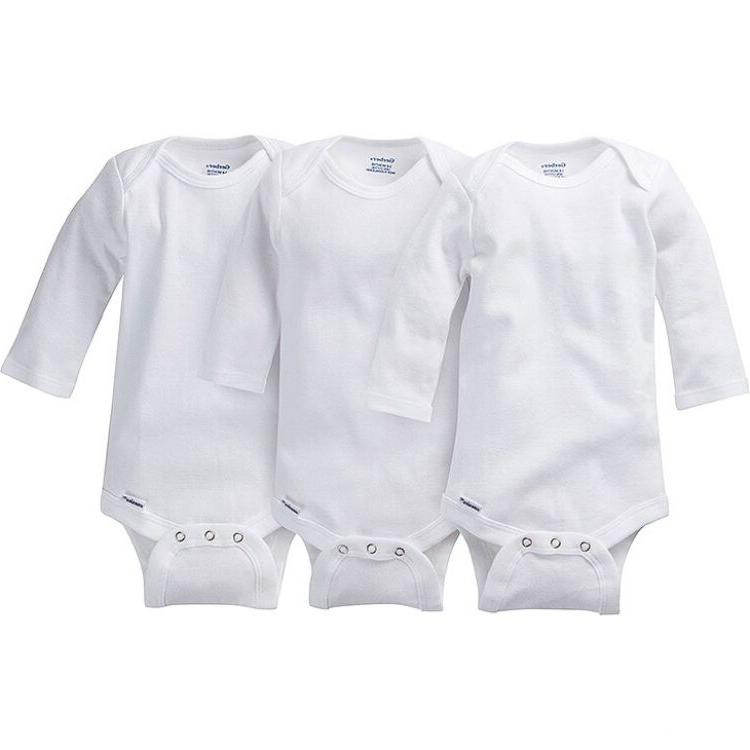 Gerber Unisex White Onesies 3 Pack NEW Long Sleeve Bodysuit