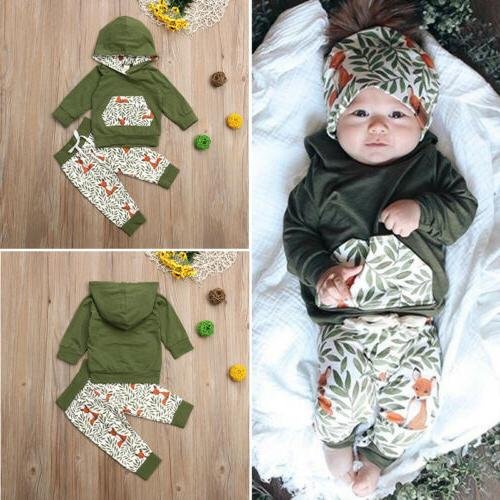 US Newborn Baby Girl Boy Fox Hooded Tops Pants Outfits Clothes
