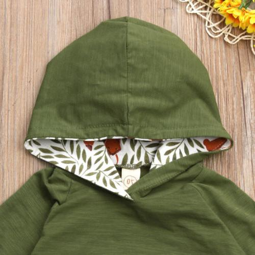 US Baby Girl Boy Fox Hooded Pants Outfits
