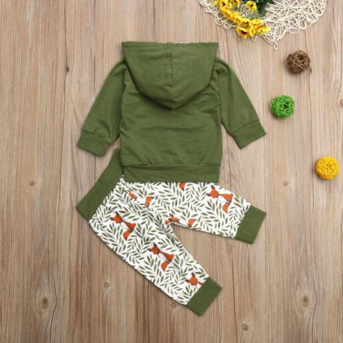US 2Pcs Newborn Baby Girl Hooded Outfits