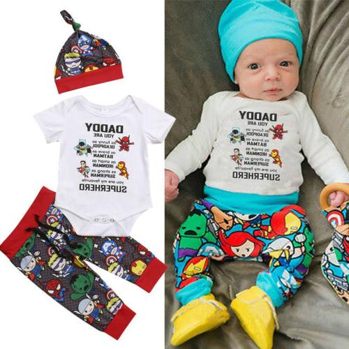 US 3Pcs Newborn Baby Boy Cotton Top Romper Pants Leggings Ha