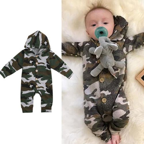 US Baby Boy Camouflage Romper Playsuit Outfit Clothes