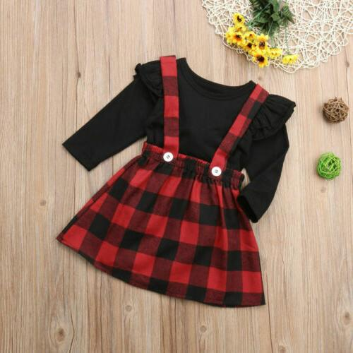 US Outfits Fall Winter T-shirt+Overall Tutu strap