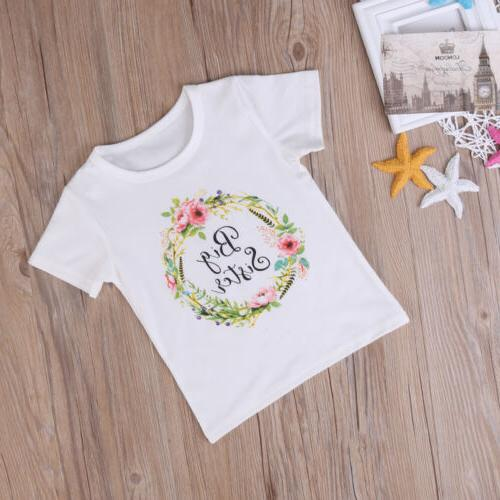 US Baby Kid Girl Sister Romper Outfit T Tops Set