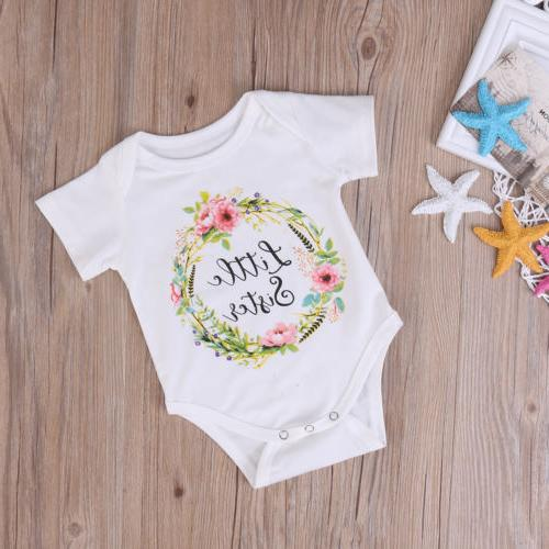 US Baby Kid Girl Sister Matching Clothes Romper Outfit Tops