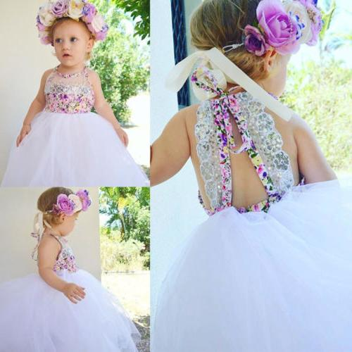 US Baby Girls Party Dresses Tulle Tutu Lace Floral Sundress