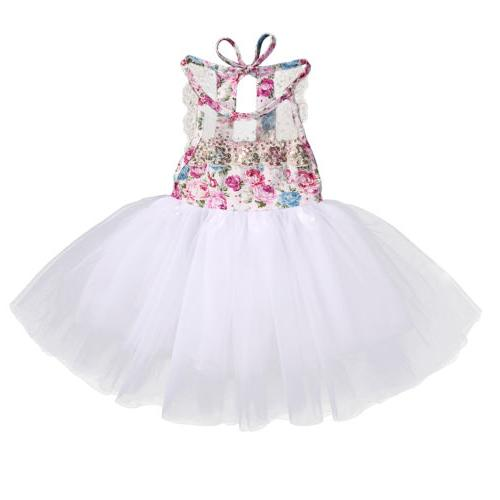 US Kids Girls Party Tulle Lace Floral Backless