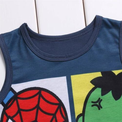 US Baby Cartoon Romper Superhero Clothes