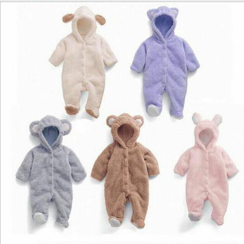 Newborn Infant Girls Hooded Fleece Outfits Clothes