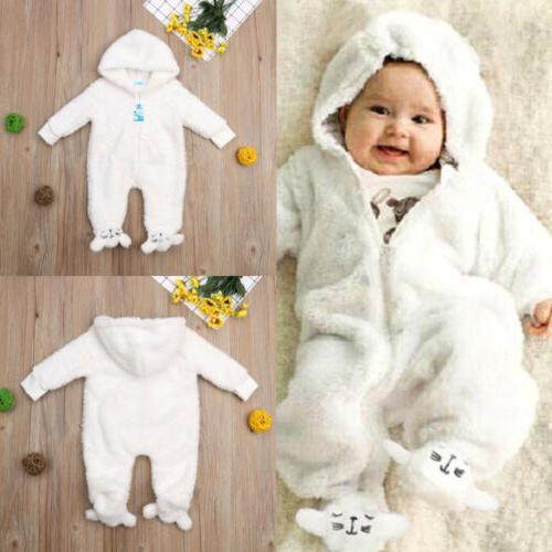 US Newborn Baby Girl Winter Jumpsuit Warm Winter
