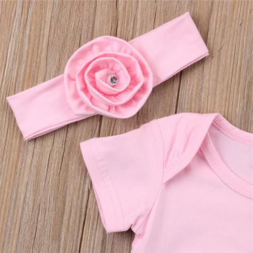 US Newborn Baby 3D Flowers Romper Bodysuit Jumpsuit Headband
