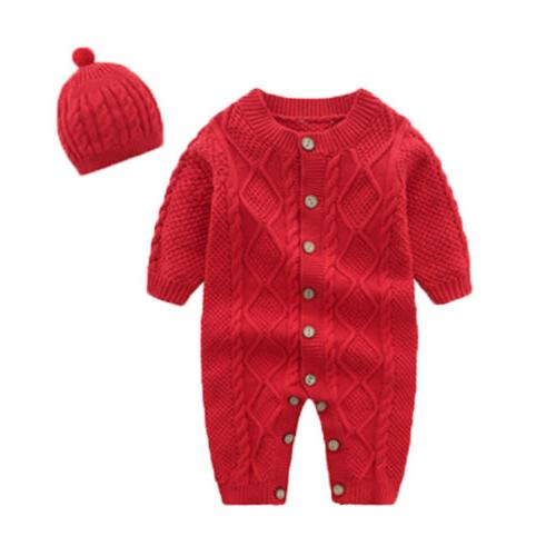 US Baby Boy Knitted Long Sleeve Romper Jumpsuit+Hat