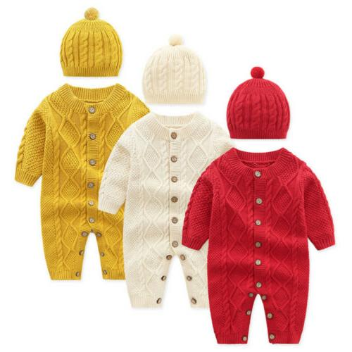 US Baby Boy Knitted Romper Jumpsuit+Hat