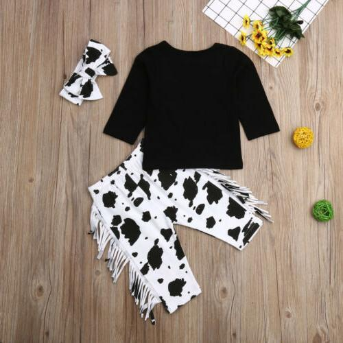US Baby Boy Winter Clothes Cow T-Shirt Tassels Outfits
