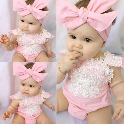 US Canis Newborn Baby Girl Lace Floral Romper Jumpsuit Sunsu