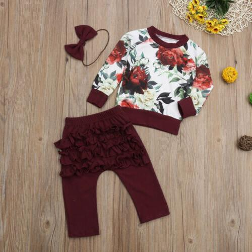 US Flower Tops Ruffle 3PCS Clothes
