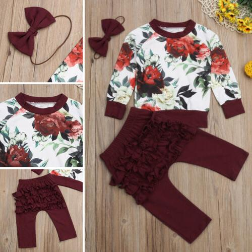 US Newborn Flower 3PCS Clothes