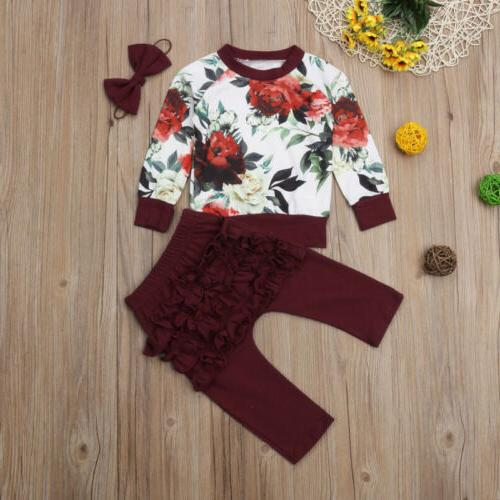 US Baby Flower 3PCS Winter Outfits Clothes