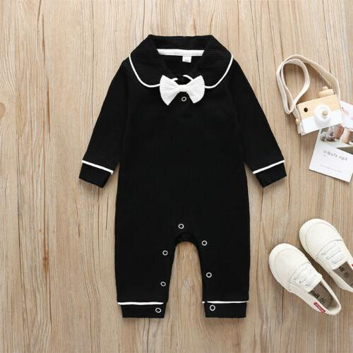 US Baby Girls Long Sleeve Bow Collar Jumpsuit Autumn Winter Clothes