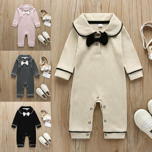US Newborn Girls Long Sleeve Bow Collar Clothes