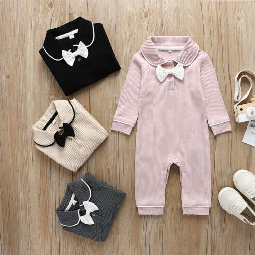 US Baby Girls Long Sleeve Doll Collar Jumpsuit Clothes