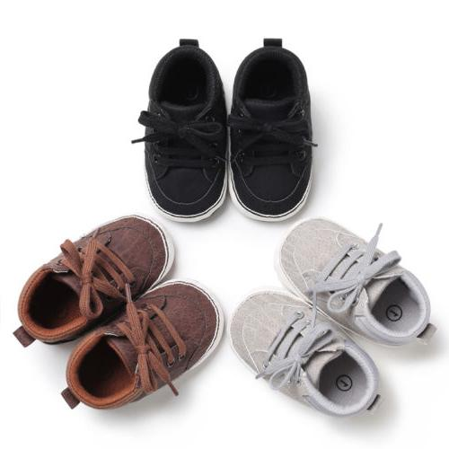 US Newborn Baby Kids Girl First Walkers Lace-Up Sneakers Shoes